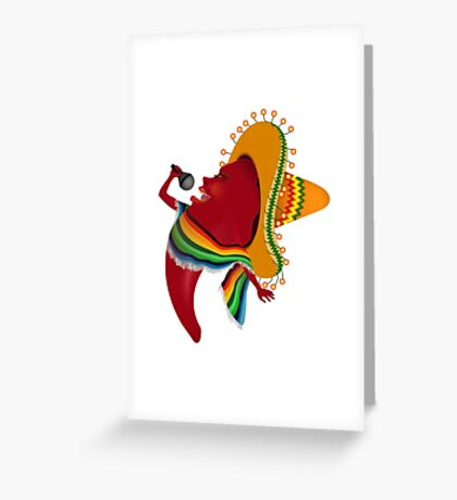 Red chili pepper singing Greeting Card