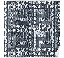 Navy Blue Peace and Love Poster