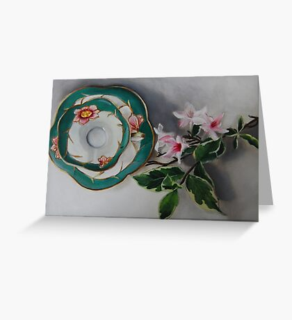 Tea and Blossoms - Antique Tea Cup and Floral Greeting Card