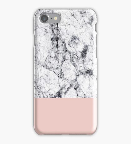 White Marble on Rose Gold iPhone Case/Skin