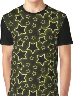 Bright yellow neon stars on black background Graphic T-Shirt