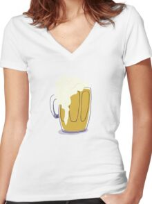 Beer in a Mug Women's Fitted V-Neck T-Shirt