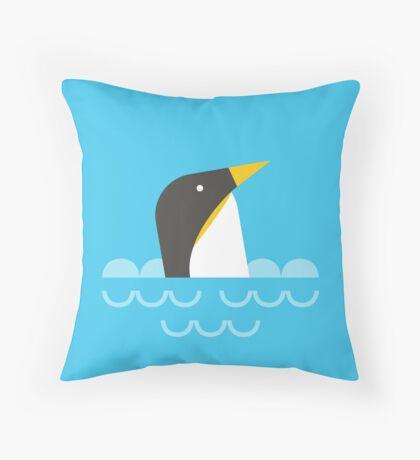 Swimming penguin Throw Pillow