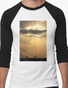 Giraffe Background - Sky Light Wanderer Men's Baseball ¾ T-Shirt