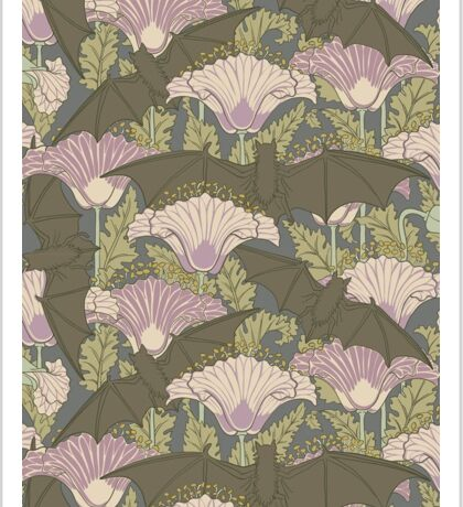 Bats and Poppies by M. P. Verneuil Sticker