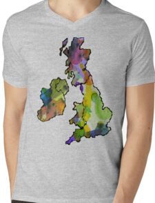 Great Britain Watercolour Mens V-Neck T-Shirt