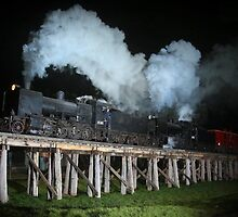 Puffing Billy on Tressle Bridge by glennmp