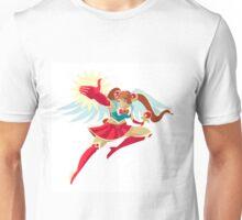 happy powerful anime girl winged schoolgirl hero Unisex T-Shirt