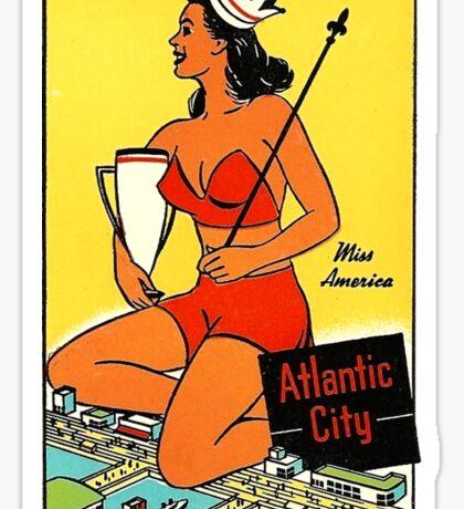 Atlantic City Miss America Vintage Travel Decal Sticker