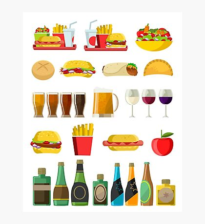 fast food beer pints wine cups and alcohol bottles print Photographic Print