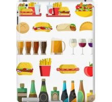 fast food beer pints wine cups and alcohol bottles print iPad Case/Skin