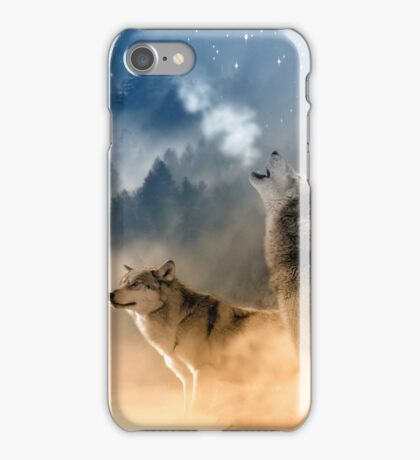 Wolves Howling in the Moonlight iPhone Case/Skin