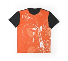 Orange and white floral design Graphic T-Shirt