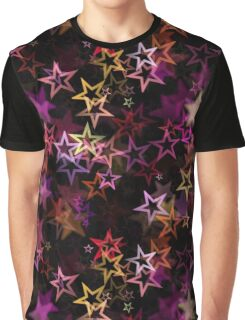 Bright colorful neon stars on black background Graphic T-Shirt