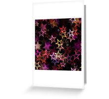Bright colorful neon stars on black background Greeting Card