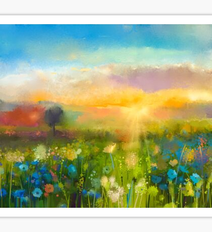 Wildflowers in the sunset Sticker