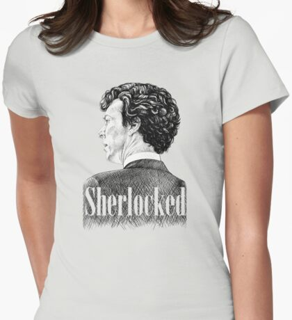 Sherlock Holmes - Sherlocked - Benedict Cumberbatch Crosshatch Portrait Womens Fitted T-Shirt