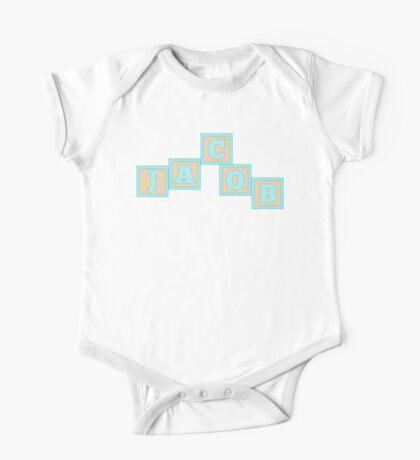 Baby Jacob in alphabet building blocks One Piece - Short Sleeve