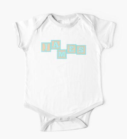 Baby James in alphabet building blocks One Piece - Short Sleeve