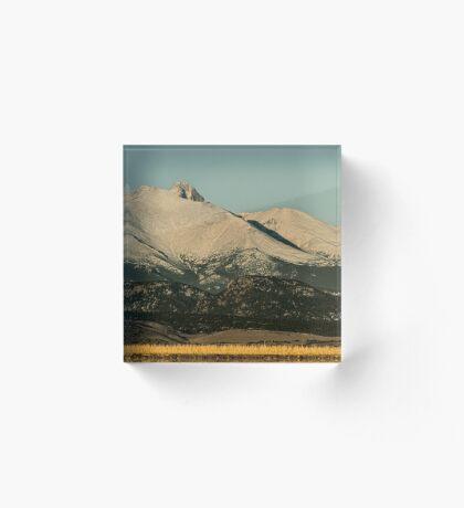 Moonset Over Meeker  and Longs Peak  Acrylic Block