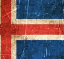 Vintage Aged and Scratched Icelandic Flag Sticker