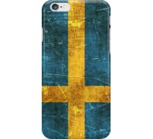 Vintage Aged and Scratched Swedish Flag iPhone Case/Skin