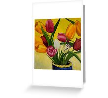 Artificial tulips in vase Greeting Card