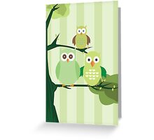 Green Owls Greeting Card