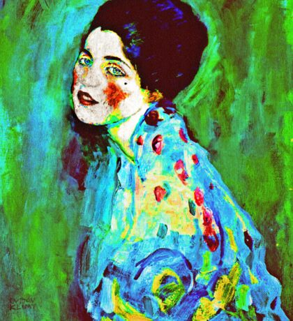 Art Nouveau Woman on Green  Sticker