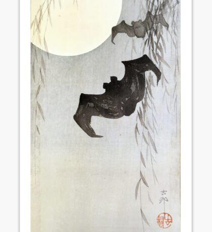 Bats in Moonlight by Ohara Koson Sticker