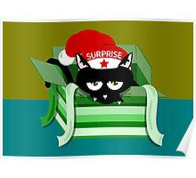 Naughty Cat Christmas Surprise Poster