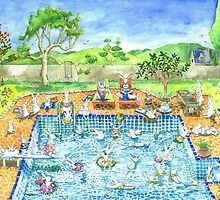 bunny pool party by vian