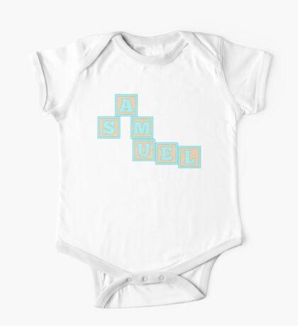 Baby Samuel in alphabet building blocks One Piece - Short Sleeve