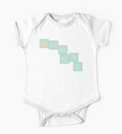 Baby Thomas in alphabet building blocks One Piece - Short Sleeve