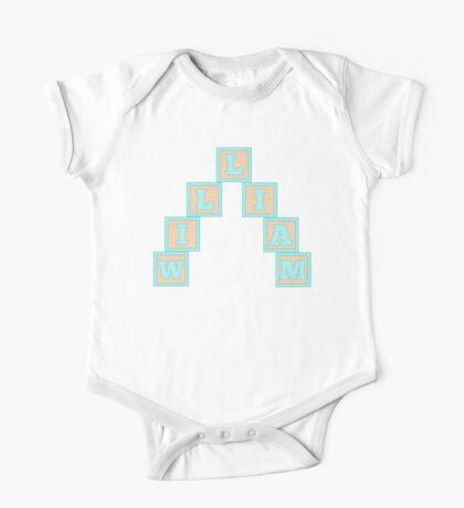Baby William in alphabet building blocks One Piece - Short Sleeve