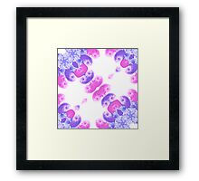 Pink Purple and Blue Floral Mirrored Pattern Framed Print