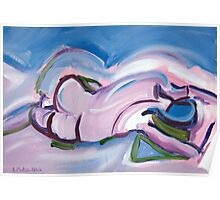 Abstract Reclining Male Nude Poster
