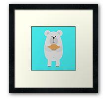 Polar Bear with pie Framed Print