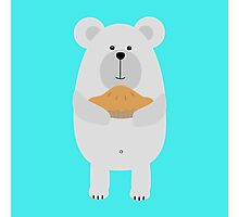 Polar Bear with pie Photographic Print