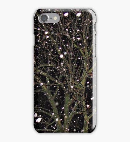 Falling Snow - Night Scene iPhone Case/Skin