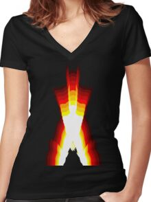wolverine fire Women's Fitted V-Neck T-Shirt