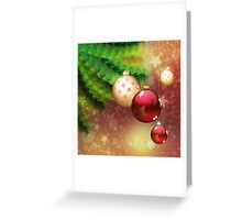 Red and gold balls on branch Greeting Card