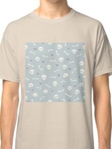 Cartoon Skulls with Hearts on Light Blue Background Seamless Pattern  Classic T-Shirt