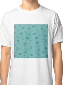 Gray Cartoon Skulls on Grey Background Seamless Pattern Classic T-Shirt