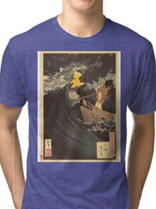 Moon Above the Sea at Daimotsu Bay (Benkei). Tri-blend T-Shirt