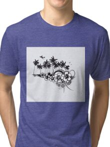 Black and White Summer Tri-blend T-Shirt