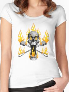 Flaming Rock Climber Skull Women's Fitted Scoop T-Shirt