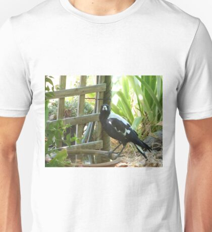 The Eyes Have It!  Thirsty Magpie enjoying a drink.  Unisex T-Shirt