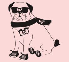 Hipster Pug - Cute Dog Cartoon Character - Puggle Kids Clothes