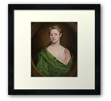 R. Dellon (18th Century) Portrait of lady in green, bust length Framed Print